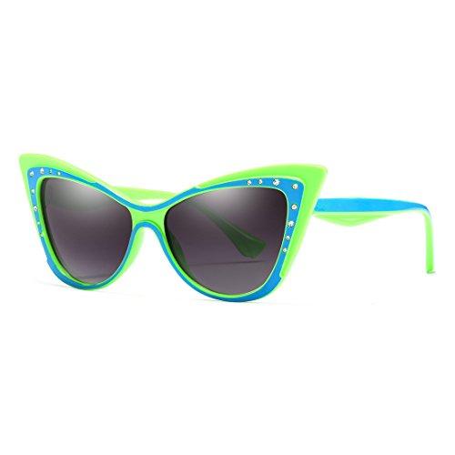- Cat Eye Sharp Corner Rhinestone Vintage Sunglasses for Women (Green-Blue)