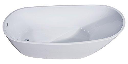 ALFI brand AB8826 Oval Acrylic Free Standing Soaking Bathtub 68