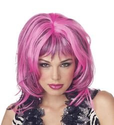 dolly2u WIG HARD ROCKIN WITCH BLK PINK (Blk Mop)