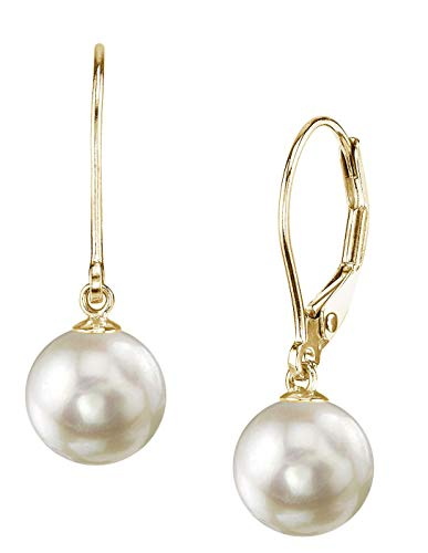 THE PEARL SOURCE 14K Gold 8.5-9mm AAA Quality Round Genuine White Akoya Cultured Pearl Leverback Earrings for Women