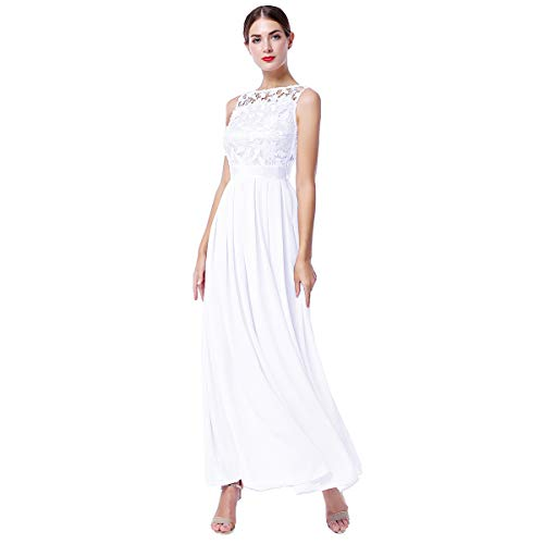 IWEMEK Women Retro Floral Lace Sleeveless Chiffon Dress Floor Length Evening Cocktail Swing Dress Formal Wedding Bridesmaid Party Dance Gown A Line Long Prom Maxi Dress White X-Large