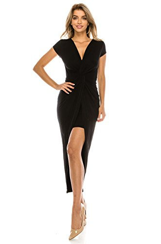 Onue Collection Women's Sexy Cocktail Party Bodycon Dress with Front Twist Detail, Large, Black