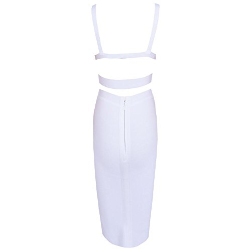 Bandage Women Set Weiß HLBandage Pure Piece 2 Length Color Knee Dress S8ZwPHZq