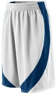 Medium White and Navy Adult Wicking Duo Knit Game Short