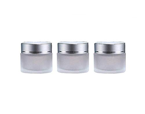 3PCS 30ml/1oz Refillable Frosted Clear Glass Jars With Silver Screw Lid And Inner Liner Empty Face Cream Container Holder Portable Makeup Sample Cream Lip Balm Lotion Storage Bottle