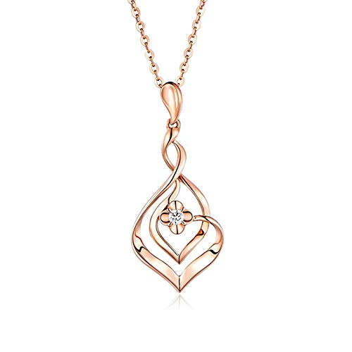 Beydodo Gold Necklaces Heart Infinity Heart Pendant with Diamond Valentines Day Necklace Pendant