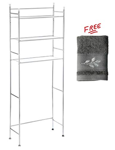 Mainstay.. 3-Shelf Bathroom Space Saver Storage Organizer Over The Rack Toilet Cabinet Shelving Towel Rack in Chrome Finish by Mainstay..