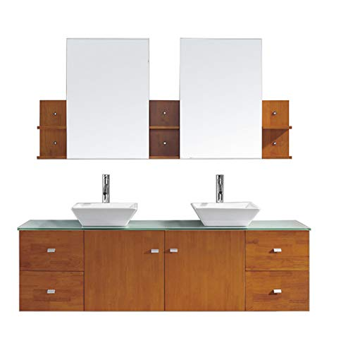 Honey Oak Medicine Cabinet Top - Virtu USA Clarissa 72 inch Double Sink Bathroom Vanity Set in Honey Oak w/ Square Vessel Sink, Aqua Tempered Glass Countertop, Single Hole Polished Chrome, 2 Mirrors - MD-415-G-HO