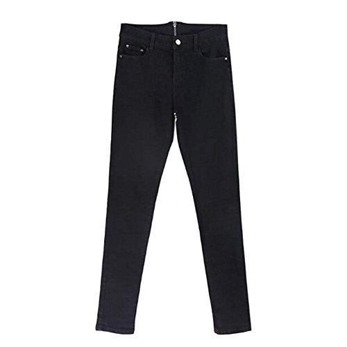Pantaloni Skinny Nero Vita Indietro Jeans Leggings Elasticizzati Deylaying Donna A Slim Alta Ziper Denim q4R6vw
