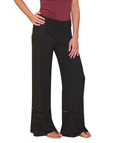 Minetom Libero Gamba Palazzo Fitness Larghi Pants Flare Eleganti Casual Slim Donna Culottes Nero Pantaloni per Fit Elastico Yoga Sport Pizzo rRqxErfwP