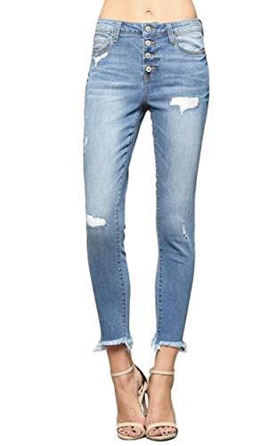 Vervet by Flying Monkey Blue Ridge Exposed Button Up Fly Mid Rise Medium Light Wash Raw Hem Ankle Skinny Jeans VT295 (25/1)