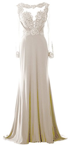 Long Women Sleeve Lace Evening MACloth Dress Gown Beaded Elfenbein of Brides Formal Mother wTqF5Ac5