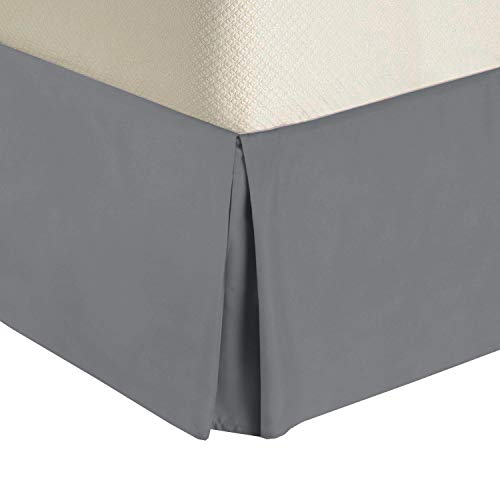 """Royal Tradition Solid 300 Thread Count Pure Cotton Full Bed Skirt (Grey) Pleated Tailored Bedskirts with 15"""" Drop and Split Corners"""