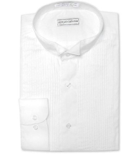 Biagio Men's 100% COTTON Solid White Color TUXEDO Dress Shirt