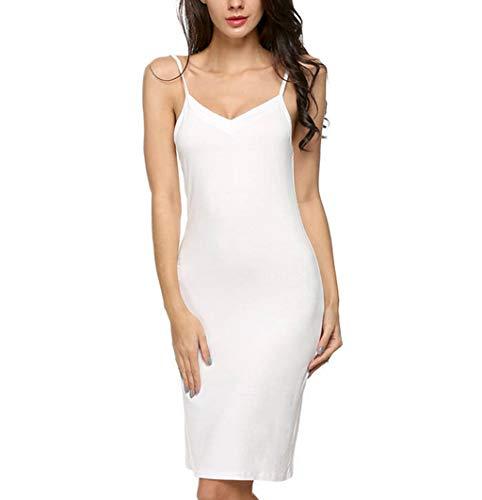 Toponly Casual Nightdress for Women Elegant Camisole Solid Strap Slim Sleepdress Chemise Mini Dress