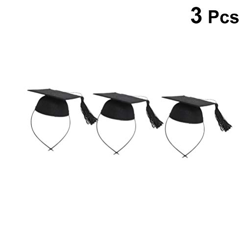 Amosfun 3Pcs Mini Graduation Cap Tiara Headband Graduation Party Favor (Black) -