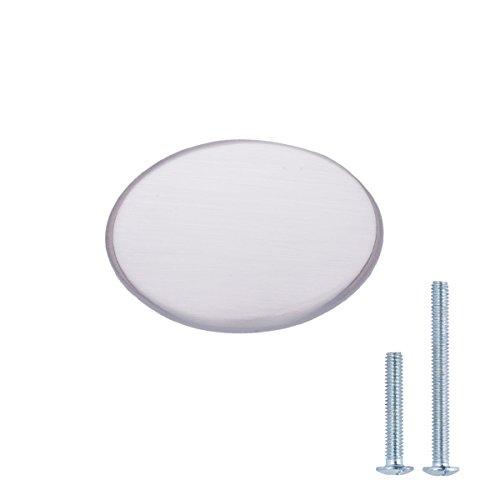 "AmazonBasics Flat Oval Cabinet Knob, 1.44"" Diameter, Satin Nickel, 25-Pack"