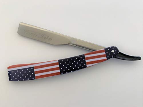 Barber Straight Razor American Flag Straight Edge Cutthroat Stainless Steel and Matte Arm Plate (Chome Plated Stainless Steel ()