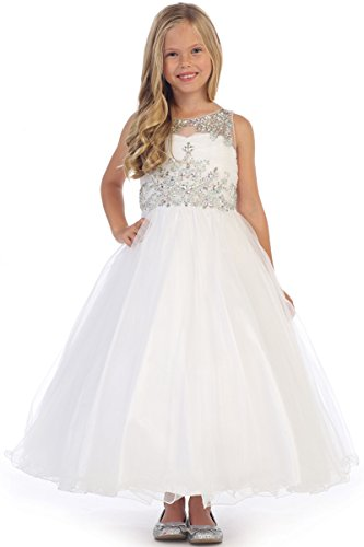 Angels Garment DR-5246 Tulle Dress w/Jeweled Bodice (7, White)
