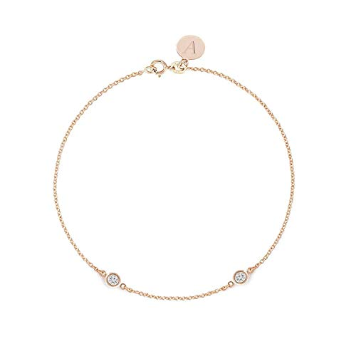 racelet 0.10 ct - Solid 14k or 18k Rose Gold - Solitaire Bezel Set - Free Personalized Initials Engraving - Nice Jewelry Gift for Women & Girls ()