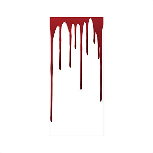 Decorative Window Film,No Glue Frosted Privacy Film,Stained Glass Door Film,Flowing Blood Horror Spooky Halloween Zombie Crime Scary Help me Themed Illustration,for Home & Office,23.6In. by 35.4In -
