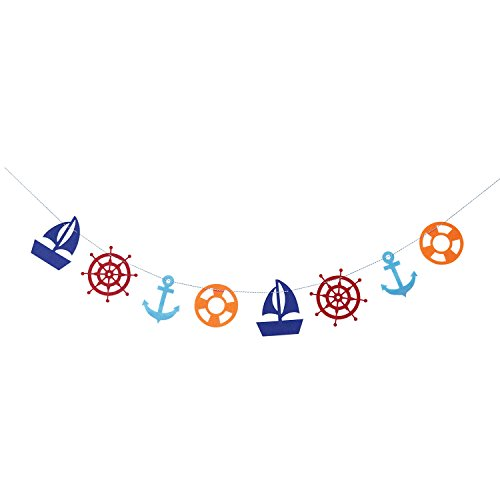 Nautical Theme Party Garland | Anchor Banner Garland | Sailboat Bunting Garland | Lifebuoy Garland | Nautical Baby Shower Decor | Photo Prop | Nautical Birthday Decorations (Sailboat Party Decor)
