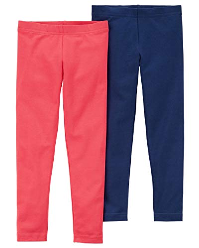 Carter's Girls' Baby, Toddler, Kids, 2 Pack Cotton Leggings, Hot Pink/Navy, 7 Kids -