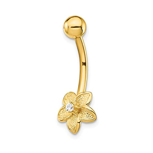 - 14k Yellow Gold Cubic Zirconia Cz Flower Belly Band Ring Body Naval Fine Jewelry Gifts For Women For Her
