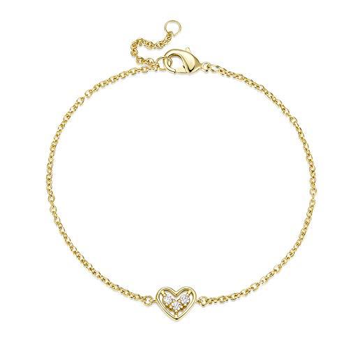 AGVANA Yellow Gold Filled Heart Bracelet Pierced Setting Three White Cubic Zirconia CZ Jewelry for Women Girls Adjustable Chain 7