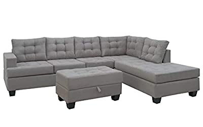 Merax. Sofa 3-Piece Sectional Sofa with Chaise and Ottoman Living Room Furniture,Grey