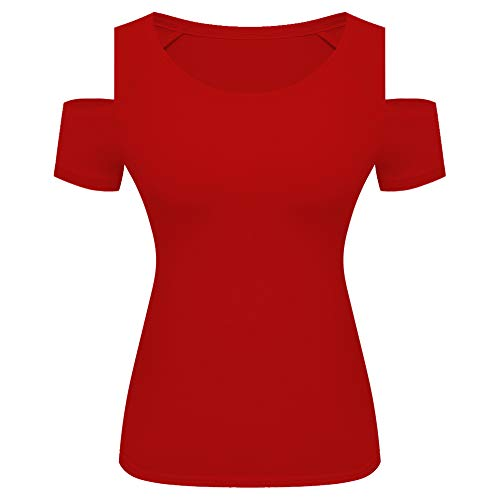 (Womens Cut Out Cold Shoulder Top Short Sleeve Round Neck Fitted Tee Shirt Blouse (X-Large,)