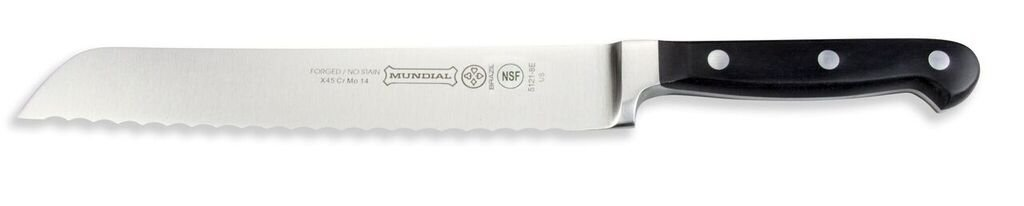 Mundial 5100 Series 8-Inch Bread Knife with Serrated Edge, Black