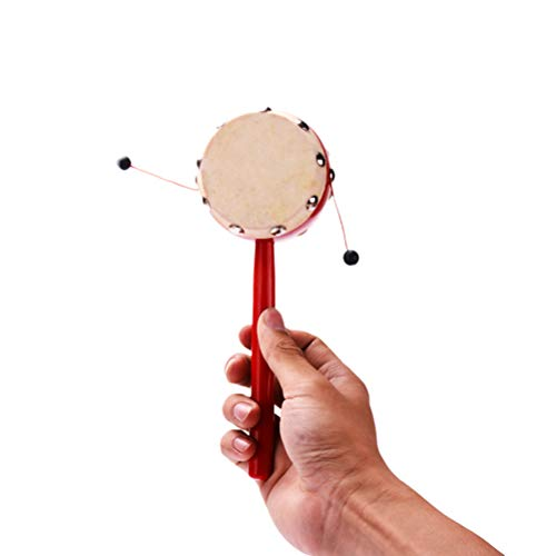 - YeahiBaby Hand Shaking Drum Toy Sheepskin Drumhead Rattle Balance Drum Wooden Red 7cm Early Educational Traditional Toy Musical Instruments for Kids(2pcs-Random Pattern)