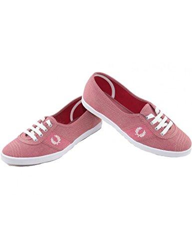 Fred Perry - Zapatos rojos para mujer Fred Perry Aubrey Chambray Rojo Mineral Rojo