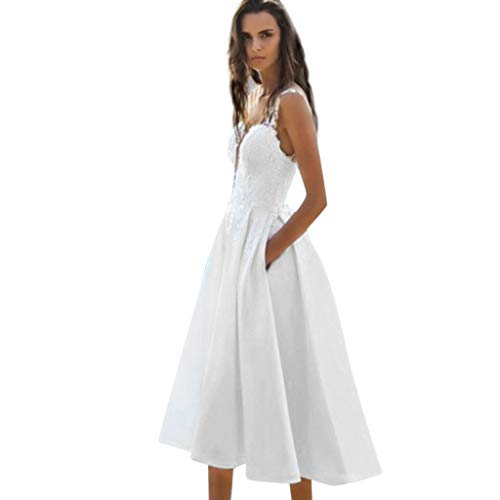 HongMong Women's Summer Straps Deep V-Neck Appeal Lace Stitching Evening Dress White