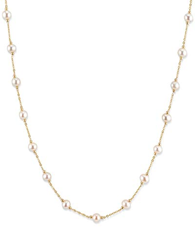 (THE PEARL SOURCE 14K Gold 6-7mm Round White Freshwater Cultured Pearl Tincup Alessia Necklace for Women in 24