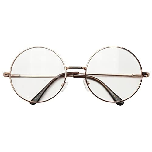 c569a6abb3a Round Double Metal Wire No Prescription Oversized Sunglasses Clear Lens  Gold Circle Frame Glasses 60%
