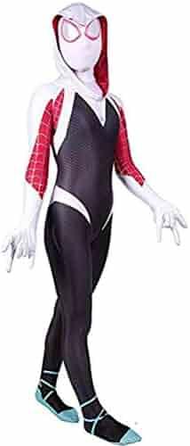 Spurcos Toddler Kids Spider Verse Miles Morales Gwen Jumpsuit Bodysuit Halloween Cosplay Costumes