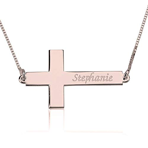 Sideways Cross Name Necklace - Engraved Cross Necklace in Rose Gold Plated