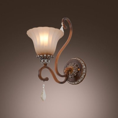 hua Exquisite Single Light Up Lighting Etched Wrought Iron Wall Sconce with Bell Glass Shade and Brass Finish