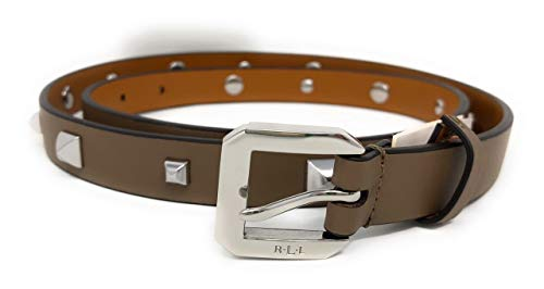 Ralph Lauren Womens Dryden Stud Skinny Leather Belt Taupe, M