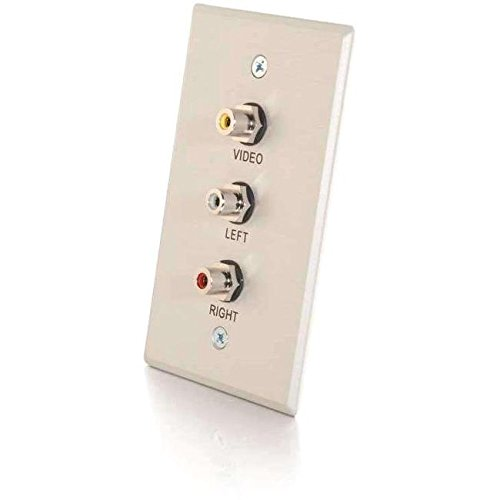 C2G/Cables to Go 41013 Single Gang Composite Video + Stereo Audio Wall Plate - Brushed Aluminum by C2G