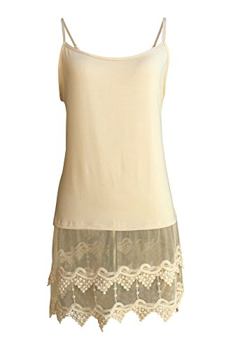 Lace Trimmed Camisole Top Shirt Extender For Women Extra Long Tank - Plus Sizes,X-Large,Natural