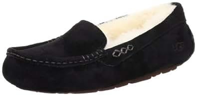 UGG Women's Ansley Wool Lined Suede Slipper, Black, 36 EU/ 5 US