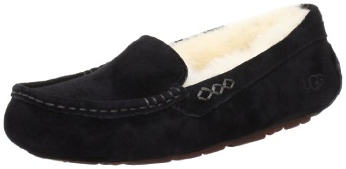 Ugg Belle Slippers - UGG Women's Ansley Moccasin, Black, 8