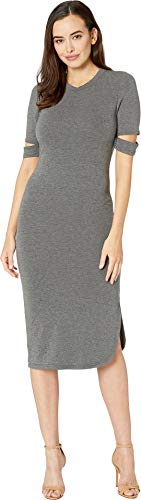 American Rose Women's Quinn Luxe French Terry Midi Dress Charcoal Large