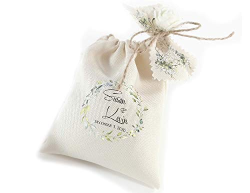 Bulk wedding favors for guests - Welcome gift bags - Greenery engagement party favours - Table decor ideas -