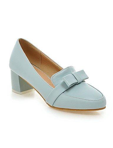 GGX/Damen Schuhe PU Sommer/spitz Toe Heels Büro & Karriere/Casual Chunky Ferse Schleife Blau/Pink/Weiß white-us5 / eu35 / uk3 / cn34