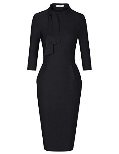 Sleeve Tie Waist Dress - MUXXN Womens Charming 50s 60s Elbow Sleeve Empire Waist Special Occasion Dresses (Black M)