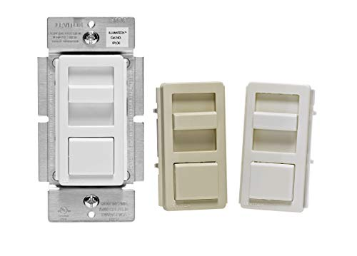 Leviton IPL06-10Z IllumaTech Slide Dimmer for 150-Watt Dimmable LED, 600-Watt Incandescent/Halogen, White w/ Color Change Kits Included